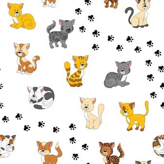 Padrão sem emenda de vetor com gatos em fundo branco