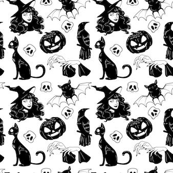 Padrão sem emenda de vetor com giro de halloween mão desenhada conjunto de elementos.