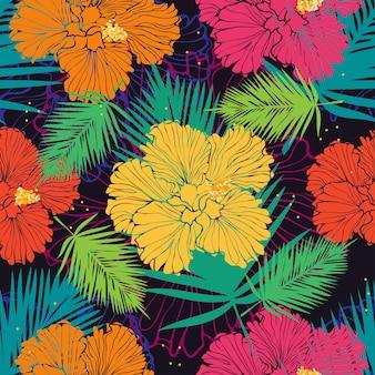 Padrão sem emenda de vetor com hibiscos coloridos e folhas de palmeira