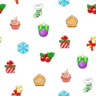 Padrão sem emenda de vetor com ícones de feliz ano novo e dia de natal em fundo branco