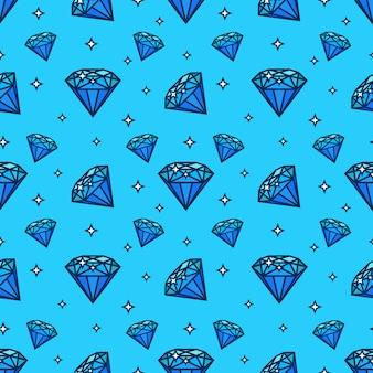 Padrão sem emenda de vetor com ícones de gem e diamante. elemento de textura e design com ícone jewerly plana