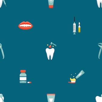 Padrão sem emenda de vetor com ícones de odontologia. antecedentes odontológicos