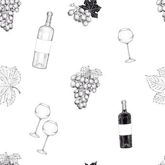 Padrão sem emenda de vetor com ilustração de uva