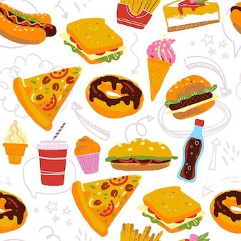 Padrão sem emenda de vetor com ilustração saborosa de fast food