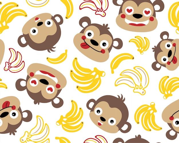 Padrão sem emenda de vetor com macacos e bananas