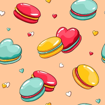 Padrão sem emenda de vetor com macaroons de doodle e corações