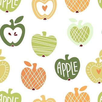 Padrão sem emenda de vetor com maçãs bonitos abstratas