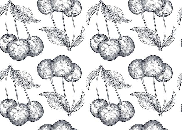 Padrão sem emenda de vetor com mão desenhada bagas de cereja no estilo de desenho. desenho detalhado de comida vegetariana. lindo fundo vintage infinito