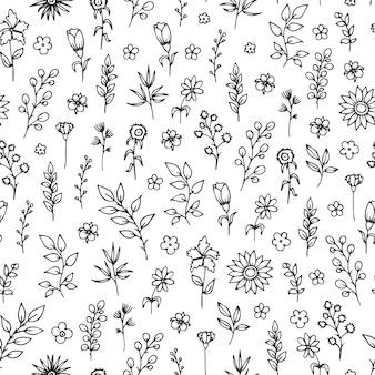 Padrão sem emenda de vetor com mão desenhada ervas e flores sobre fundo branco.
