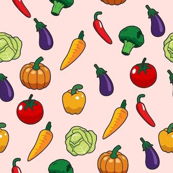 Padrão sem emenda de vetor com mão desenhadas legumes