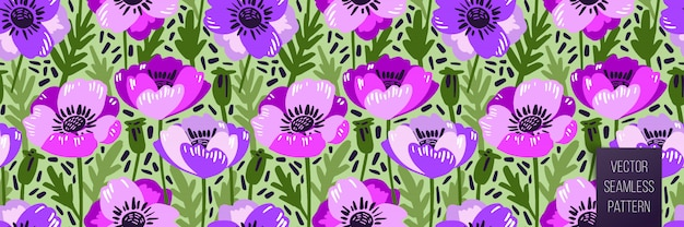 Padrão sem emenda de vetor com mão desenhando flores silvestres, botânica colorida