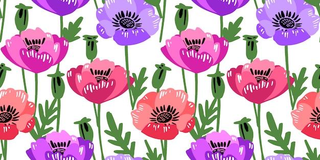 Padrão sem emenda de vetor com mão desenhando flores silvestres.