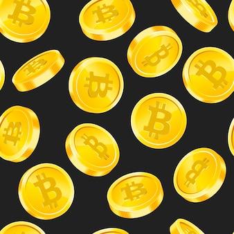 Padrão sem emenda de vetor com moedas de ouro bitcoin em ângulos diferentes em fundo preto. conceito de dinheiro da moeda digital. símbolo da criptomoeda, tecnologia blockchain.
