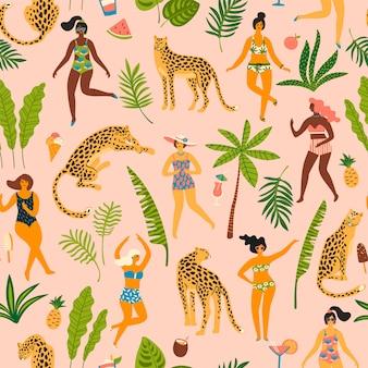 Padrão sem emenda de vetor com mulheres e leopardos.