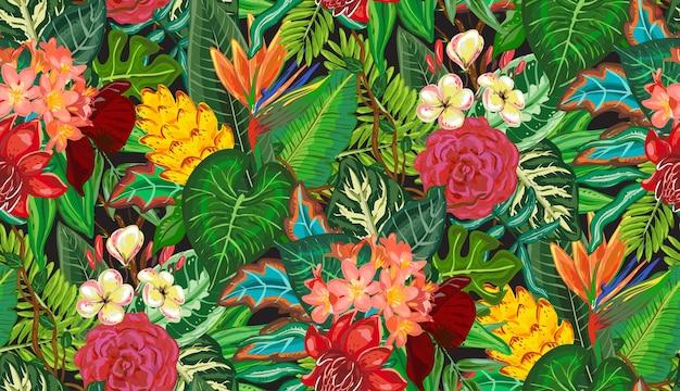 Padrão sem emenda de vetor com palmeira tropical, folhas de palmeira, plantas, flores exóticas