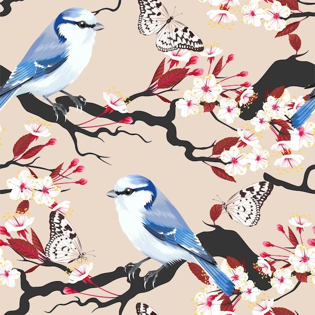 Padrão sem emenda de vetor com pássaros e cereja em flor
