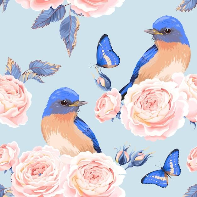 Padrão sem emenda de vetor com pássaros e rosa