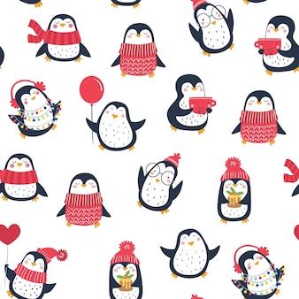 Padrão sem emenda de vetor com pinguins fofos