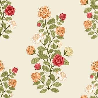 Padrão sem emenda de vetor com rosas em estilo vitoriano vintage