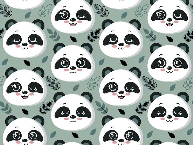 Padrão sem emenda de vetor com rostos bonitos de panda e folhas