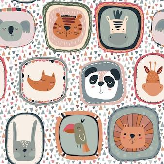 Padrão sem emenda de vetor com rostos de animais fofos em quadros estilo escandinavo simples
