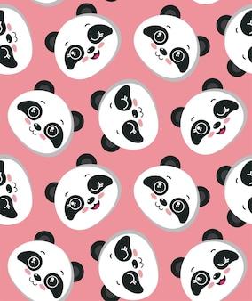 Padrão sem emenda de vetor com rostos de panda bonitos. fundo infinito bonito para design de crianças