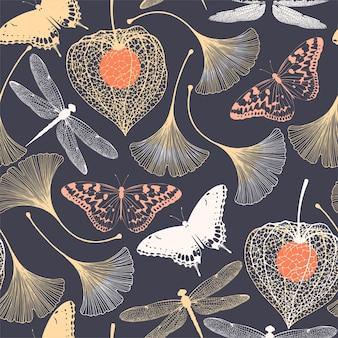 Padrão sem emenda de vetor com silhueta de ginkgo biloba e borboletas