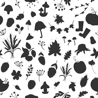 Padrão sem emenda de vetor com silhuetas de outono. fundo preto e branco de repetição de outono