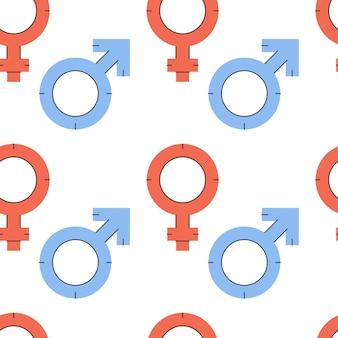 Padrão sem emenda de vetor com símbolos de igualdade de gênero