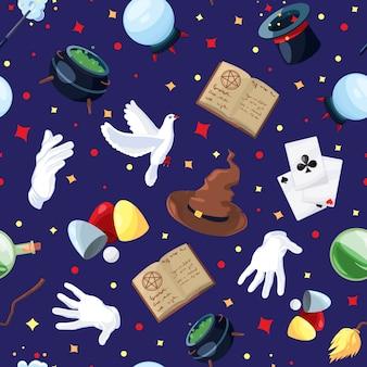 Padrão sem emenda de vetor com símbolos de mágicos, alquimistas e assistentes