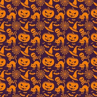 Padrão sem emenda de vetor com símbolos tradicionais de halloween.