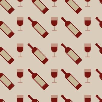 Padrão sem emenda de vetor com taças de vinho e garrafa - vetor
