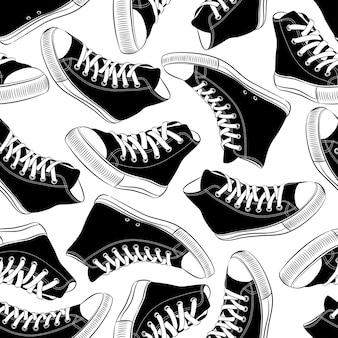 Padrão sem emenda de vetor com tênis vintage preto e branco