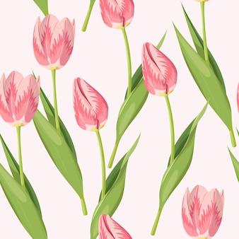 Padrão sem emenda de vetor com tulipas