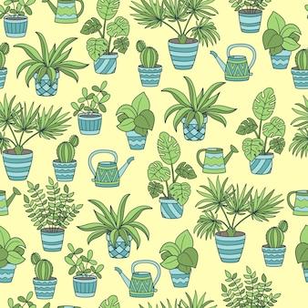 Padrão sem emenda de vetor com um conjunto de plantas de interior em vasos e regadores, em um fundo amarelo