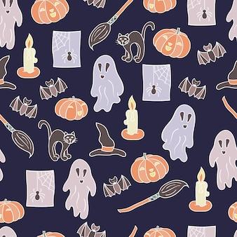 Padrão sem emenda de vetor com um conjunto para o halloween em um fundo escuro. para o design de capas, embalagens, cartões de festas, estampas têxteis