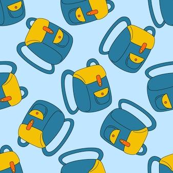 Padrão sem emenda de vetor com uma mochila escolar em um fundo azul em estilo doodle. um fundo de repetição é usado para tecido, têxteis, branding.