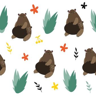 Padrão sem emenda de vetor com ursos pardos.