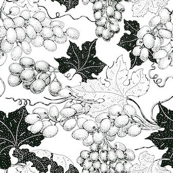 Padrão sem emenda de vetor com uva. pode ser usado para o fundo, design, convite, banner, embalagem. ilustração vintage mão desenhada