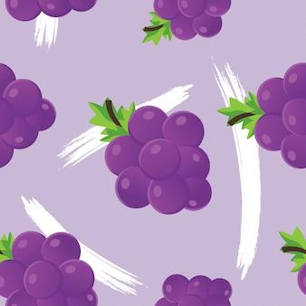 Padrão sem emenda de vetor com uvas e folhas