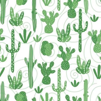 Padrão sem emenda de vetor com vários cactos. cactos lindos e brilhantes. fundo com plantas do deserto para embrulho de papel, papel de parede, têxteis. padrão sem emenda de vetor com vários cactos.
