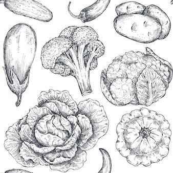 Padrão sem emenda de vetor com vegetais desenhados à mão em estilo de esboço produtos do mercado agrícola