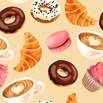 Padrão sem emenda de vetor com xícaras de café e pastelaria francesa
