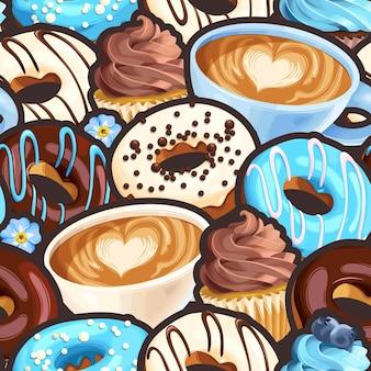 Padrão sem emenda de vetor com xícaras de café rosquinhas com vidros coloridos e cupcakes