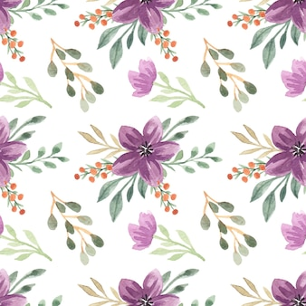Padrão sem emenda de vetor de buquê floral roxo aquarela Vetor Premium