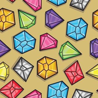 Padrão sem emenda de vetor de diamantes em cores diferentes