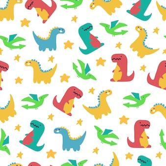 Padrão sem emenda de vetor de dinossauros fofos para papel de parede