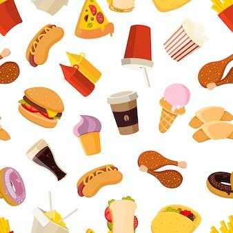 Padrão sem emenda de vetor de fast-food