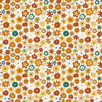 Padrão sem emenda de vetor de flor retrô dos anos 70. padrão de repetição floral vintage groovy com flores, formas simples. impressão de hippie floral geométrico ondulado para papel de parede, banner, design têxtil