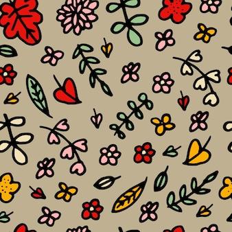 Padrão sem emenda de vetor de folhas e flores. plano de fundo para têxteis ou capas de livros, manufatura, papéis de parede, impressão